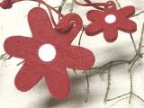 Filz Blüten zum Hängen Rot / Weiß