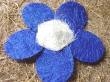 Sisal Blüte 25 cm Blau / Weiß